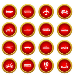 Transportation icon red circle set vector