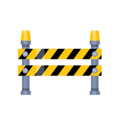 urban blocking road sign with yellow stripes and vector image