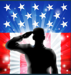 Us flag military soldier saluting in silhouette vector