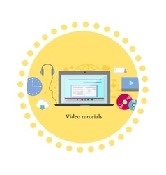 Video tutorial icon flat design style vector