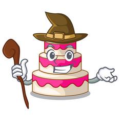 Witch wedding cake in a cartoon fridge vector