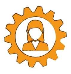 Woman and gear wheel vector