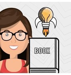 woman books idea reading vector image