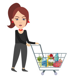 woman with shopping cart on white background vector image