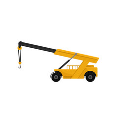 yellow mobile hydraulic crane car cargo vector image