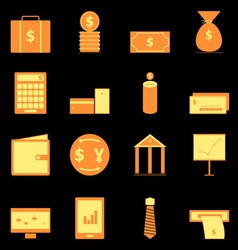 Business icons on black background vector image vector image