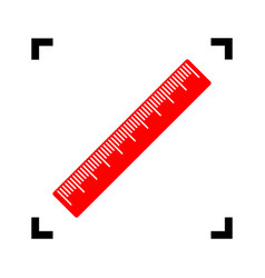 centimeter ruler sign red icon inside vector image vector image