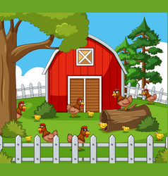 farm scene with many hens and chicks vector image