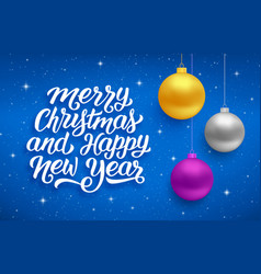 happy new year and merry christmas card vector image vector image