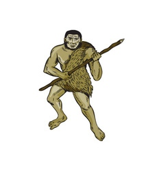 Neanderthal Man Holding Spear Etching vector image