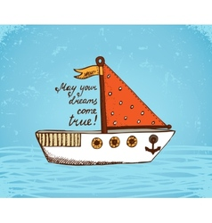 boat on waves poster vector image