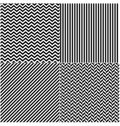 four classic black and white lines seamless vector image vector image