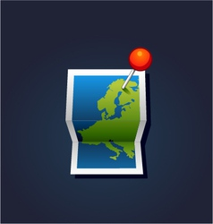 map with GPS icons vector image