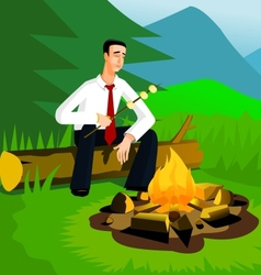 Relaxing businessman near campfire vector image vector image