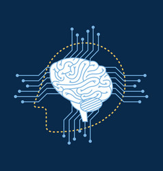 silhouette robot head brain cuircuit connection vector image