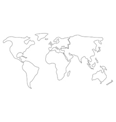 Simplified world map divided to continents Simple vector image vector image