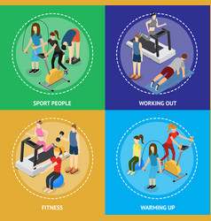 sport people in gym poster card set isometric view vector image