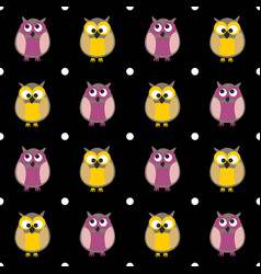 tile pattern with owls and dots on black vector image vector image