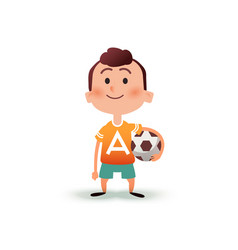 cartoon little boy holds the ball in his hand a vector image