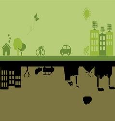 Green versus Industrial city vector image