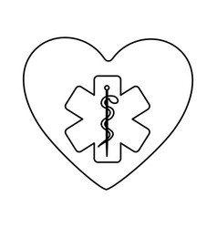 Monochrome silhouette of heart with health symbol vector