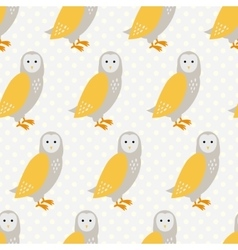 Seamless pattern with cute cartoon owls on grey vector image vector image