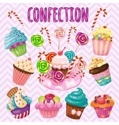 Sweet blast set candy cakes lollipops vector image