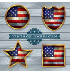 Vintage American Flag Badges and Emblems vector image