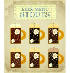 Vintage Beer Card Stouts vector image