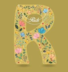 Yellow letter r with floral decor and necklace vector