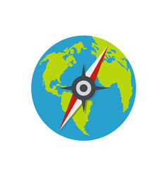 compass on earth icon flat style vector image