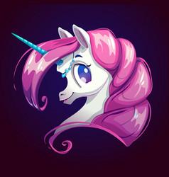 cute cartoon unicorn with pink hair vector image vector image
