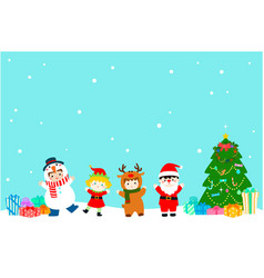 joyful kids with christmas costumes background vector image