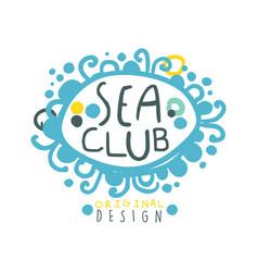 sea club logo design summer travel and sport hand vector image vector image