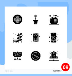 9 solid glyph concept for websites mobile and vector image