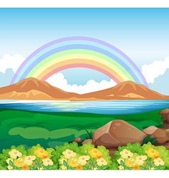 A view of the rainbow and the beautiful nature vector image