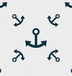 Anchor icon sign Seamless pattern with geometric vector image