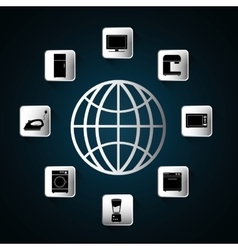 Appliances icon set Internet of things design vector