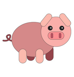 artoon pig in flat style vector image