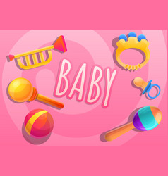 baby toys concept banner cartoon style vector image