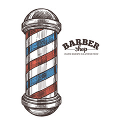 barbershop hand drawn pole vector image
