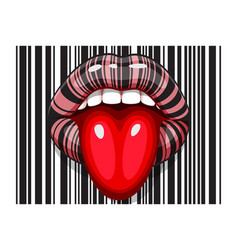 barcode strip makeup of female mouth with tongue vector image