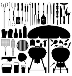 Bbq barbecue set silhouette a large set of vector