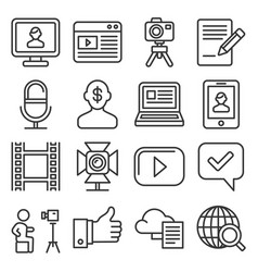 blog and blogger icons set on white background vector image