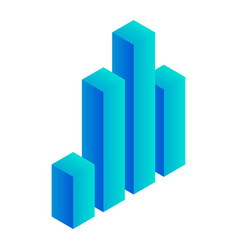 blue graph column icon isometric style vector image