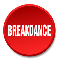 Breakdance red round flat isolated push button vector