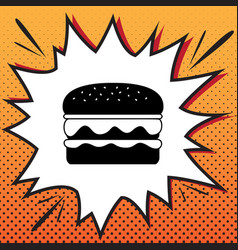 burger simple sign comics style icon on vector image