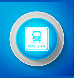 bus stop sign isolated on blue background vector image