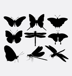 Butterfly and dragonfly insect silhouettes vector image