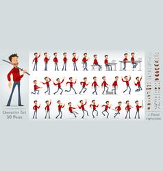 Cartoon flat crazy boy character big set vector